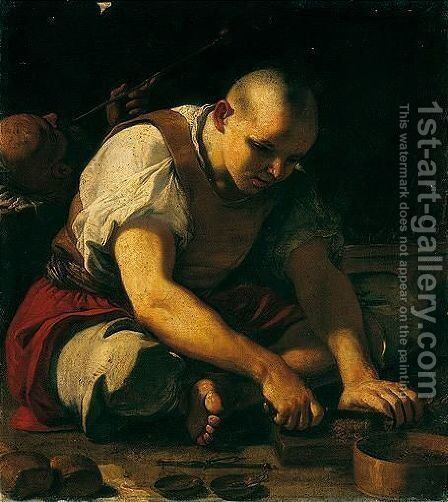 A Man Cutting Up Tobacco, Another Smoking Behind by Mattia Preti - Reproduction Oil Painting