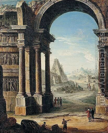 An Architectural Capriccio Of Classical Ruins With A Pyramid And Figures by Antonio Joli - Reproduction Oil Painting