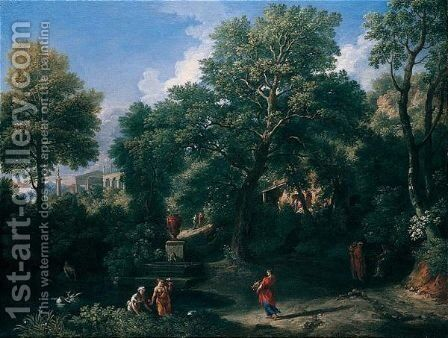 An Arcadian Landscape With Figures Bathing By A Pool, A Classical Temple Beyond by Jan Frans van Orizzonte (see Bloemen) - Reproduction Oil Painting