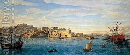 A Prospect Of Naples From The Sea, Looking North East Towards The Castel Dell'Ovo by Caspar Andriaans Van Wittel - Reproduction Oil Painting