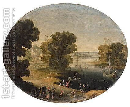A River Landscape With A King And His Retinue, Possibly Polycrates Of Samos Finding The Ring by (after) Paul Bril - Reproduction Oil Painting