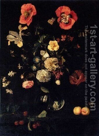 Still Life Of Roses, Poppies, Irises And Other Flowers In A Glass Vase, With Apricots And Cherries On A Ledge by Herman Verelst - Reproduction Oil Painting