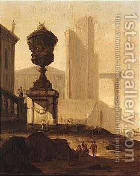 An Architectural Capriccio Of A Roman Harbour by Alexander Havelaer - Reproduction Oil Painting
