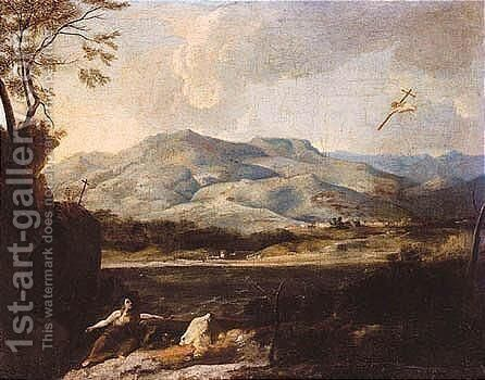 River Landscape With The Penitent Magdalene by (after) Francesco Cozza - Reproduction Oil Painting
