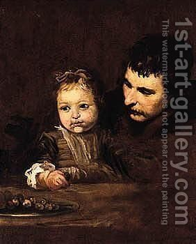 A Child With His Father Eating Grapes by (after) Diego Rodriguez De Silva Y Velazquez - Reproduction Oil Painting