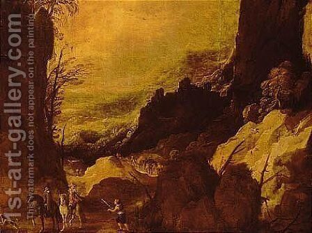 Mountainous Landscape With Travellers On A Path by (after) Joos De Momper - Reproduction Oil Painting