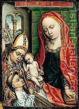 Virgin And Child With A Saint And A Donor by - Unknown Painter - Reproduction Oil Painting