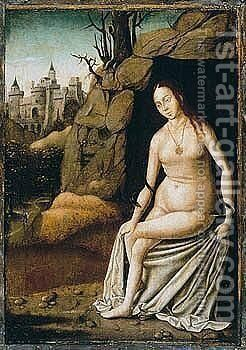 A Mountainous Landscape With A Female Allegorical Figure by - Unknown Painter - Reproduction Oil Painting