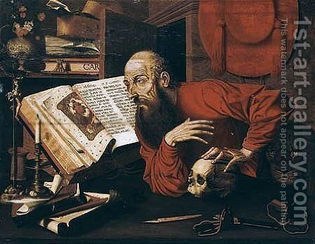 Saint Jerome In His Studio by (after) Marinus Van Reymerswaele - Reproduction Oil Painting