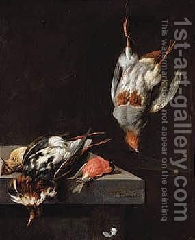 Still Life With A Ruff, Bullfinch, And A Pippit On A Ledge, And A Partridge Hanging From A Nail by Jan Vonck - Reproduction Oil Painting
