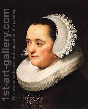 Portrait Of A Lady, Head And Shoulders, Wearing Black With A White Head-Dress And Ruff by (after) Harmenszoon Van Rijn Rembrandt - Reproduction Oil Painting