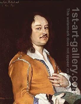 Portrait Of A Man, Wearing An Ochre Jacket, Holding A Drawing In His Right Hand by Jacob van Loo - Reproduction Oil Painting