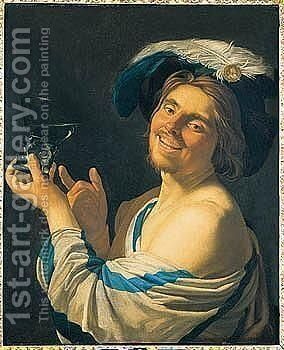A Merry Toper Holding A Wine Glass by (after) Honthorst, Gerrit van - Reproduction Oil Painting