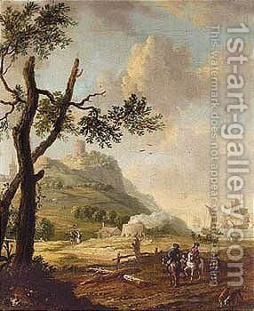Coastal Landscape With Riders Conversing With A Traveller, Dutch Shipping Beyond by (after) Abraham Storck - Reproduction Oil Painting