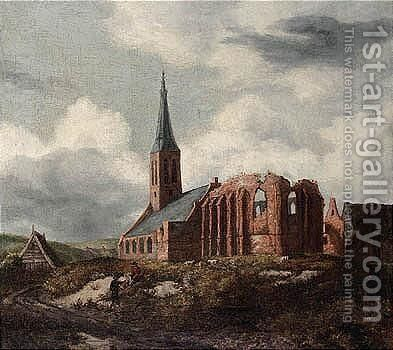 A Ruined Church Near Leiden With Two Travellers Resting By The Roadside by Anthonie Van Borssom - Reproduction Oil Painting