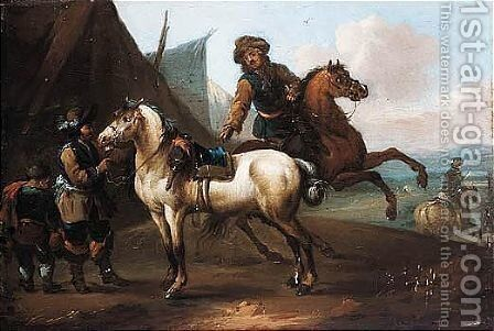 A Cavalry Encampment by (after) August Querfurt - Reproduction Oil Painting