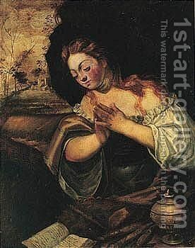 The Penitent Magdalene by Domenico Tintoretto (Robusti) - Reproduction Oil Painting