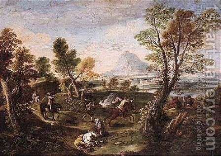 An Extensive River Landscape With An Ambush by (after) Antonio Maria Marini - Reproduction Oil Painting