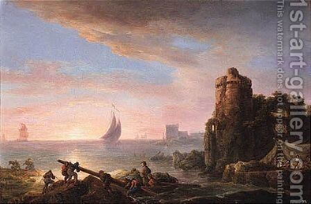 Coastal Landscape At Sunset With Fishermen, Ruins Beyond by (after) Loutherbourg, Philippe de - Reproduction Oil Painting
