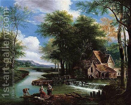 River Landscape With A Mill by (after) Alexandre-Hyacinthe Dunouy - Reproduction Oil Painting