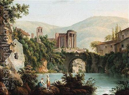 A View Of The Temple Of Vesta At Tivoli by (after) Abraham Louis Rudolph Ducros - Reproduction Oil Painting