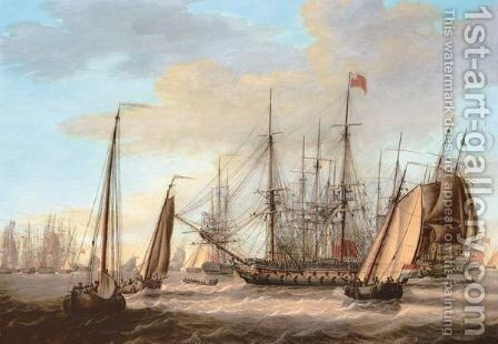 The British Fleet Off The Dutch Coast by Engel Hoogerheyden - Reproduction Oil Painting