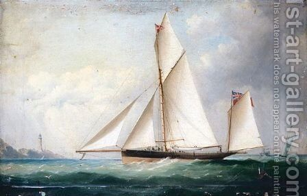 Yacht In Full Sail With Lighthouse In The Background by Capt. John Haughton Forrest - Reproduction Oil Painting