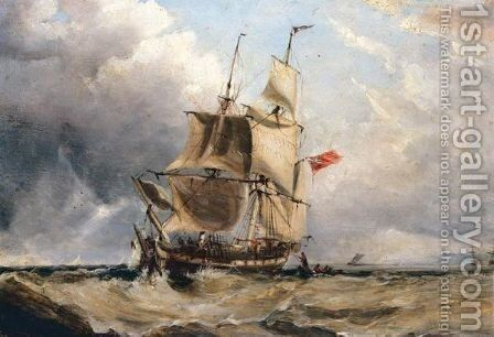 English Battleship Off The Coast by (after) George Sen Chambers - Reproduction Oil Painting