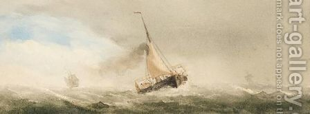 Yacht In Full Sail by Charles Taylor - Reproduction Oil Painting
