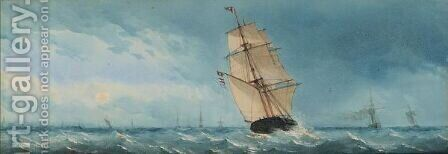 Shipping Outside The Harbour Of Lowestoft by Charles Taylor - Reproduction Oil Painting