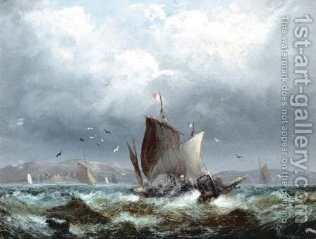 Fishing Boats In Heavy Seas by (after) William A. Thornley Or Thornber - Reproduction Oil Painting