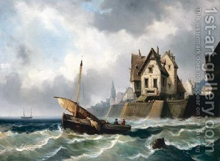 Fishing Boat Raising Sail by (after) Alfred Montague - Reproduction Oil Painting
