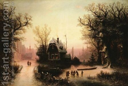 Landscape With Izbas by Albert Bredow - Reproduction Oil Painting