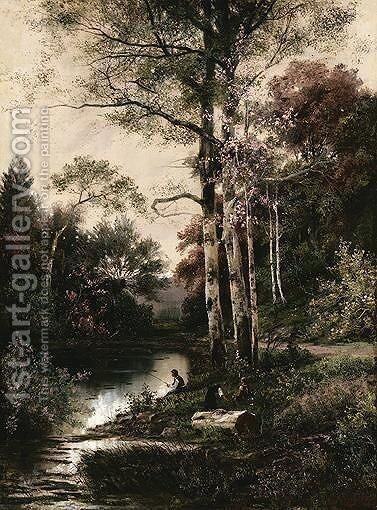 Summer Fishing In The Forest Lake by Ilya Semenovich Ostroukhov - Reproduction Oil Painting