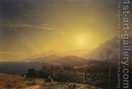View From The Hills Above Theodosia by Ivan Konstantinovich Aivazovsky - Reproduction Oil Painting