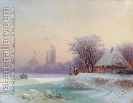 The Perils Of Winter Travel In The Russian Provinces by Ivan Konstantinovich Aivazovsky - Reproduction Oil Painting