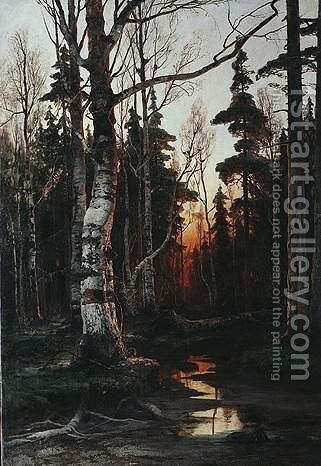 Birch Forest At Sunset by Iulii Iul'evich (Julius) Klever - Reproduction Oil Painting