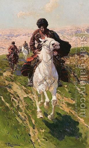 Charging Cossacks by Franz Roubaud - Reproduction Oil Painting