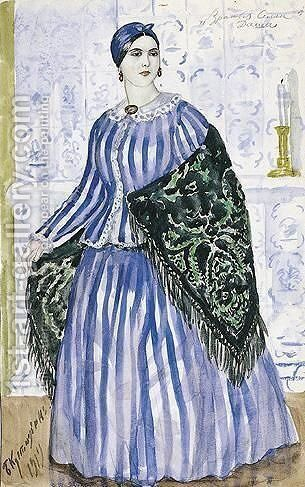 Costume Design For Dasha, The Merchant's Wife by Boris Kustodiev - Reproduction Oil Painting