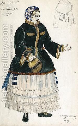 Costume Design For Grusha In Fur-Trimmed Coat by Boris Kustodiev - Reproduction Oil Painting