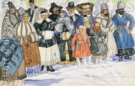 Costume Designs And Stage Directions For The Spectators by Boris Kustodiev - Reproduction Oil Painting