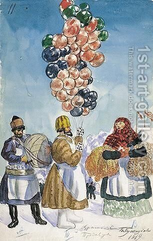 Balloon Vendor At The Fair by Boris Kustodiev - Reproduction Oil Painting