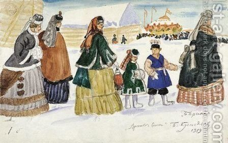 Ladies On Their Way To The Fair by Boris Kustodiev - Reproduction Oil Painting