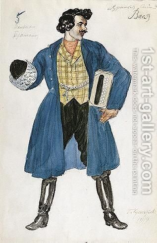 Costume Design For Vasya With His Accordian by Boris Kustodiev - Reproduction Oil Painting
