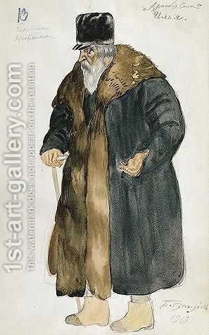 Costume Design For Ilya, An Old Peasant Man With Walking Stick by Boris Kustodiev - Reproduction Oil Painting