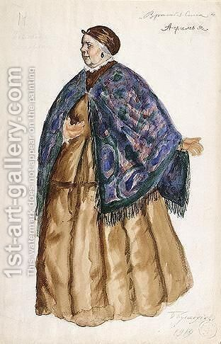 Costume Design For Afimia, An Elderly Peasant Woman With Blue Shawl by Boris Kustodiev - Reproduction Oil Painting