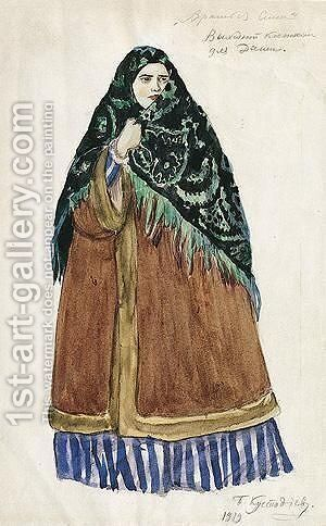 Costume Design For Dasha, The Merchant's Wife, Wearing Green And Black Headscarf by Boris Kustodiev - Reproduction Oil Painting