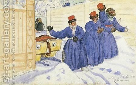 Three Coachmen In The Snow by Boris Kustodiev - Reproduction Oil Painting