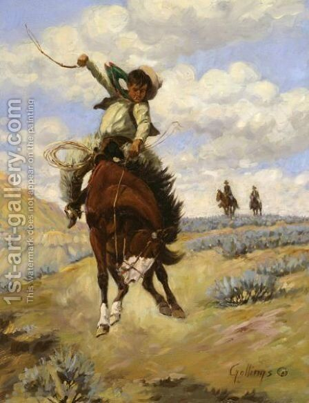 Bronc Buster by Elling William Gollings - Reproduction Oil Painting