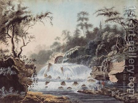 The Salmon Leap At Leixlip Castle, County Kildare by Irish School - Reproduction Oil Painting